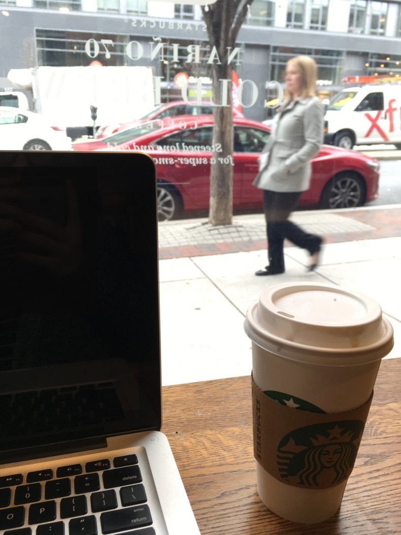 Blonde Coconut Mocha Macchiato and people watching