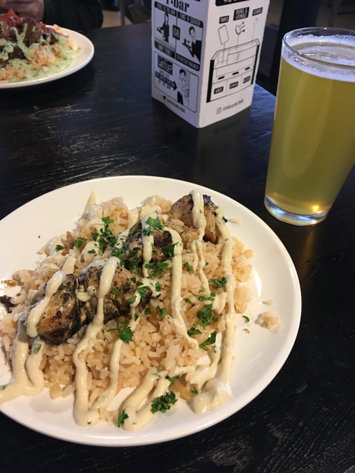 Chicken Kabob served over rice from ARBA Mediterranean @ R. House, Baltimore, with an 'Anthem' golden ale by Union Craft Brewing