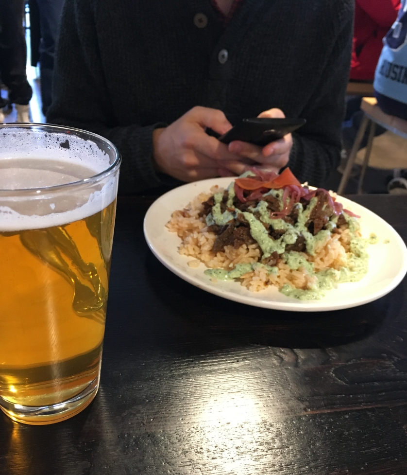 Beef Shawarma served over rice from ARBA Mediterranean @ R. House, Baltimore, with a 'Calvert Cream Ale' by Calvert Brewing Company