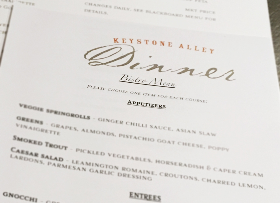 Bistro Menu, Keystone Alley