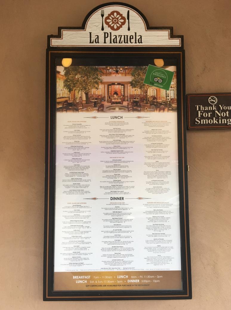 La Plazuela menu displayed outside of the restaurant