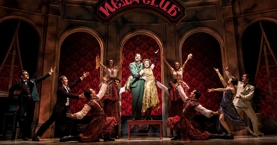 John Bolton as Vlad, Caroline O'Connor as Countess Lily and the cast of Anastasia