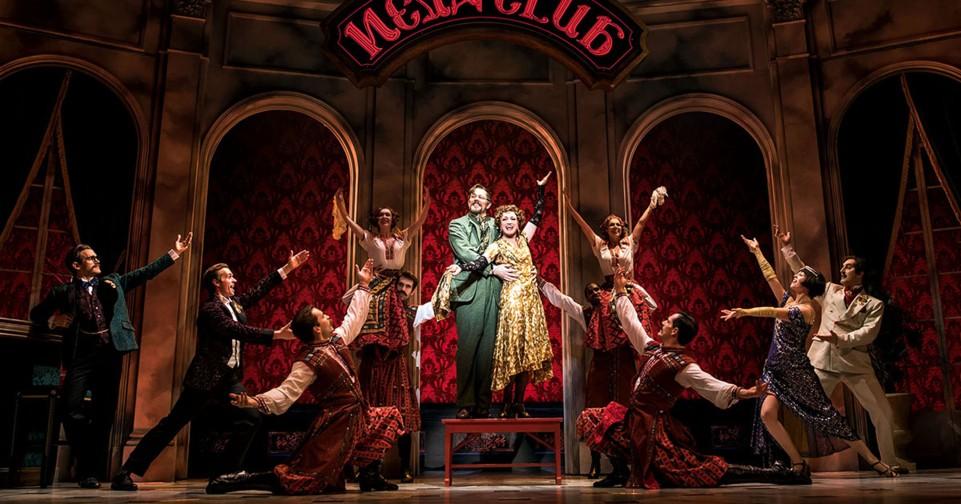 John Bolton as Vlad, Caroline O'Connor as Countess Lily and the cast of Anastasia
